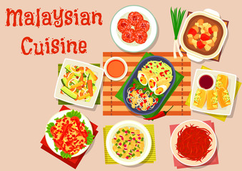 Malaysian cuisine salad and soup dishes icon