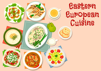 Eastern european cuisine dinner dishes icon