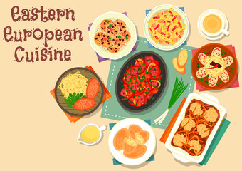 Eastern european cuisine icon with veggies, meat