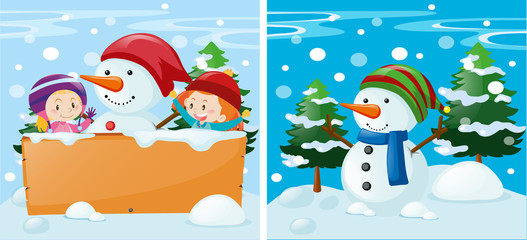 Two scenes with kids and snowman