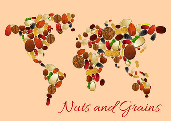 World map made up of nuts, seed and grains