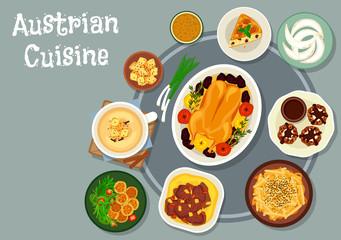 Austrian cuisine dinner icon for menu design