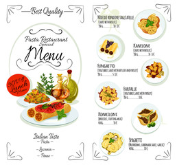 Italian cuisine restaurant pasta menu template