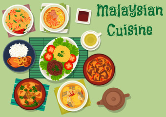 Malaysian cuisine icon with meat, seafood dishes