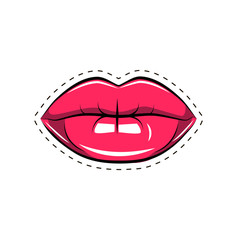 Female lips. Mouth with a kiss, smile, tongue, teeth. Vector comic illustration in pop art retro style isolated on white