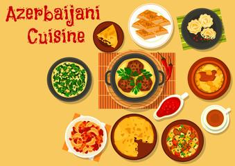 Azerbaijani cuisine dinner with dessert icon
