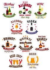 Alcohol drinks badge set for bar, wine shop design
