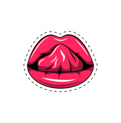 Pink lips tongue pop art retro poster element. Vector illustration isolated on white