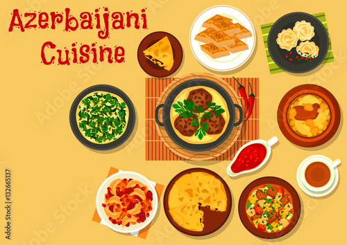 Azerbaijani cuisine dinner with dessert icon stock image for Azerbaijani cuisine