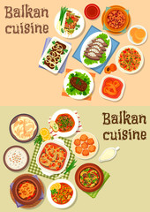 Balkan cuisine traditional dishes icon set design