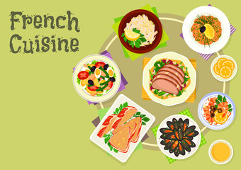 French cuisine snacks and salads icon design