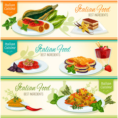 Italian cuisine popular lunch dishes banner set