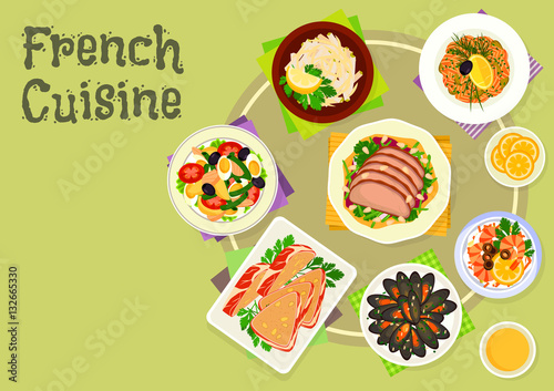 French cuisine snacks and salads icon design Stock image and royalty