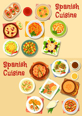 Spanish cuisine seafood dishes icon set design