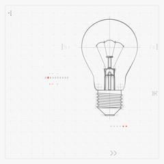 Illustration Of Lightbulb Isolated On Gray Background.