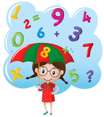 Little girl with number rain