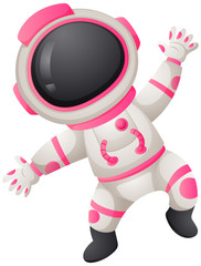 Astronaunt in white and pink spacesuit