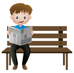 Man reading newspaper on the bench
