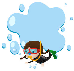 Border template with kid scuba diving