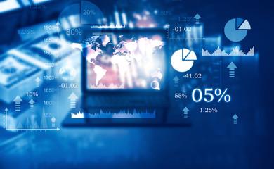 Stock market and financial data chart.  Digital marking concept. 3d render