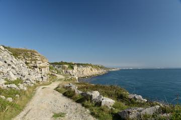 Coast path through quarry, Portland Bill, Dorset