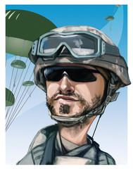 Funny hand drawn illustration cartoon. United States paratrooper airborne infantryman smiling face. Parachutes on background