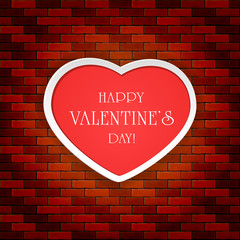 Brick wall background with red Valentines heart