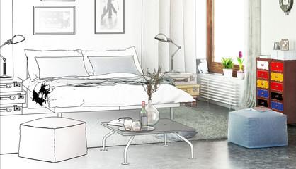 Modern Designed Bedroom (drawing)