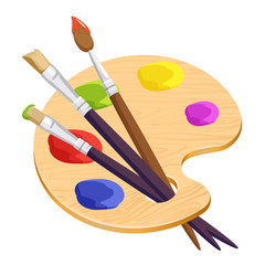 Isolated artist palette with three long different brushes inside on white