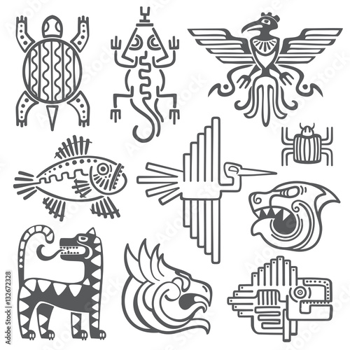 Historic Aztec Inca Vector Symbols Mayan Temple Pattern Native