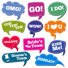 Weddings phrases in speech bubbles vector photo props set