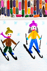 Colorful drawing: Kids learning to ski