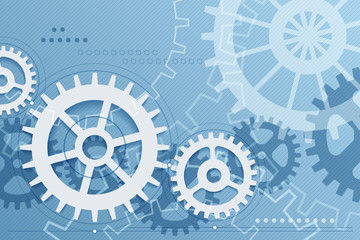 Gears blue background. Vector engineering, integration and digital communication concept