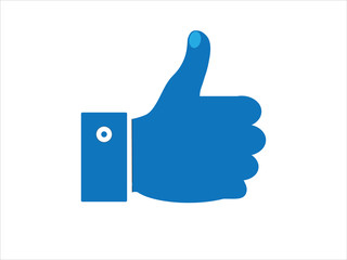 Thumb Up vector icon.cobalt color, rounded angles, white background.for business