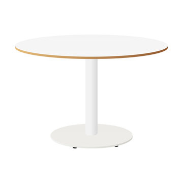 White round table isolated. White table. Vector illustration