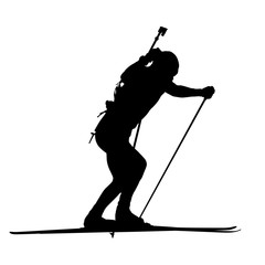Biathlon man running vector isolated silhouette. Winter sports i