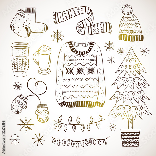 outline winter elements hand drawn illustrations cute sweater hat