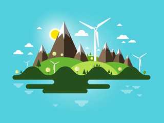 Flat Design Landscape. Abstract Nature Scene. Vector Island with Windmills, Mountains and Blue Sky.