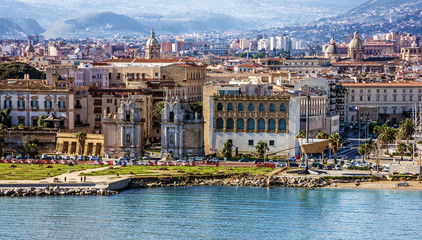 Photo on textile frame City on the water Palermo, Sicily, Italy. Seafront view