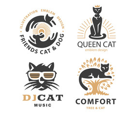 Set logo illustration with cats, emblem design