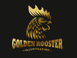 Golden rooster emblem on dark background
