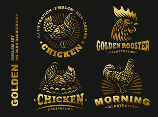 Set golden chicken emblem on dark background