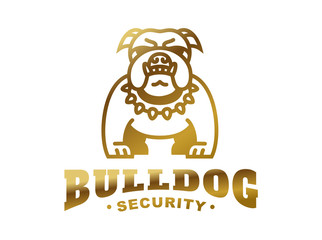 Bulldog logo - vector illustration, golden emblem