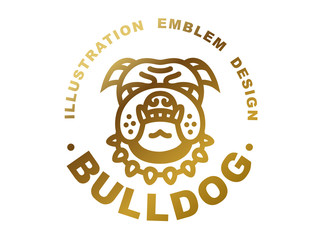 Bulldog head logo - vector illustration, golden emblem