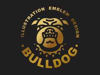 Bulldog head logo - vector illustration golden emblem