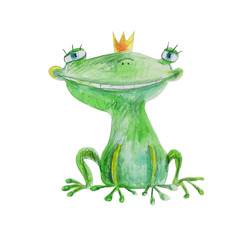 Frog in crown. Love you. Hand drawing illustration
