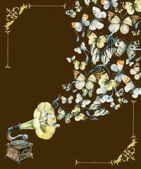 vinyl gramophone and butterflies illustration