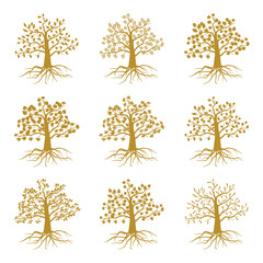 Wall Mural - Golden decorative trees like olive and oak, ash maple isolated on white background