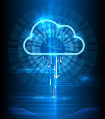 Cloud technology modern blue vector background. Clouds computing communication graphics concept