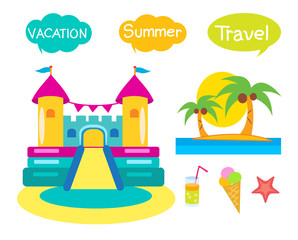 Bouncy Castle Set. Cartoon Illustrations On A White Background. Bouncy Castle Rental. Bouncy Castle For Sale. Bouncy Castle Commercial. Bouncy Castle For Kids. Castle Fun. Vacation And Tourism Icons.